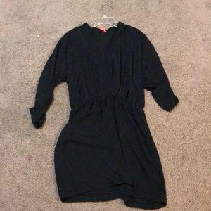 A black mini dress